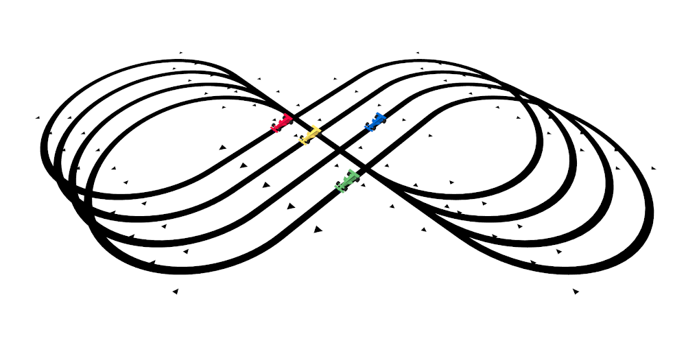 Four line following race cars competing on an infinity shaped line following race track.