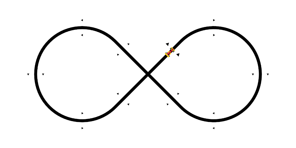 Line following race car on the starting line of an infinity shaped line following track seen from above.