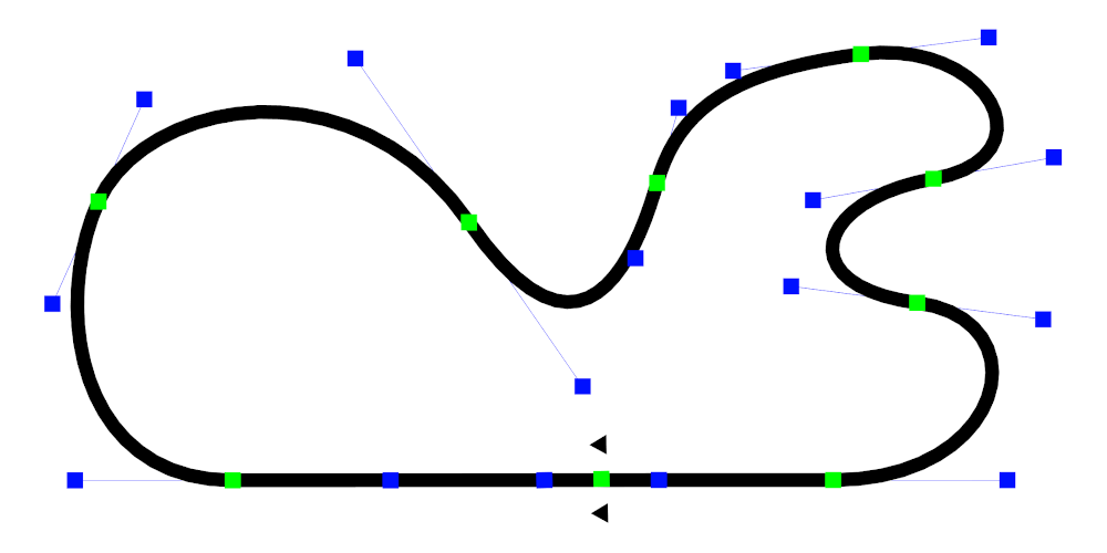 Top view of a line racing track in edit mode. The control points to manipulate the track are visible.